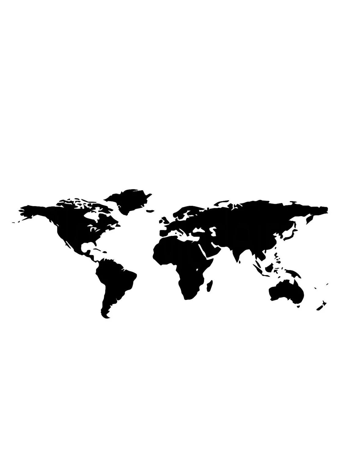 World Map Cutting File Clipart Map Of The World Svg Dxf