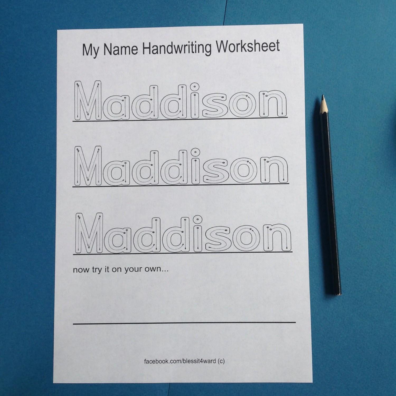Personalised My Name Handwriting Worksheets Childcare