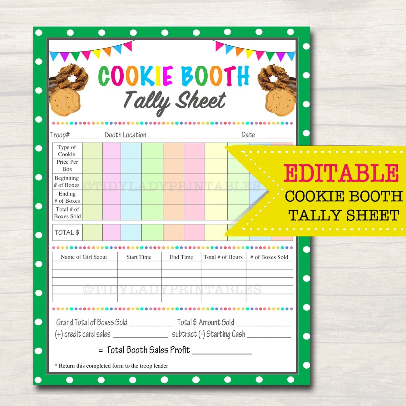 Editable Cookie Booth Tally Sheet Instant Download Troop