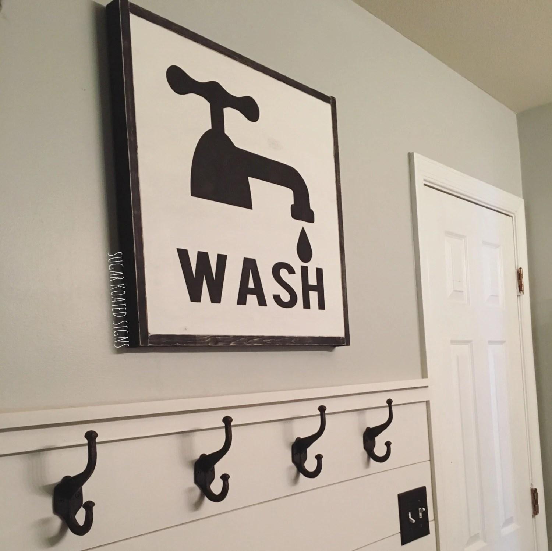 Large Wash Bathroom Sign Bath Farmhouse Sign Rustic