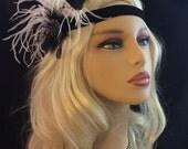Great Gatsby Headband, Speakeasy, Art Deco Flapper Headband, 1920s Headpiece, 1920s Flapper,Gunmetal Brooch Headband, Black and White