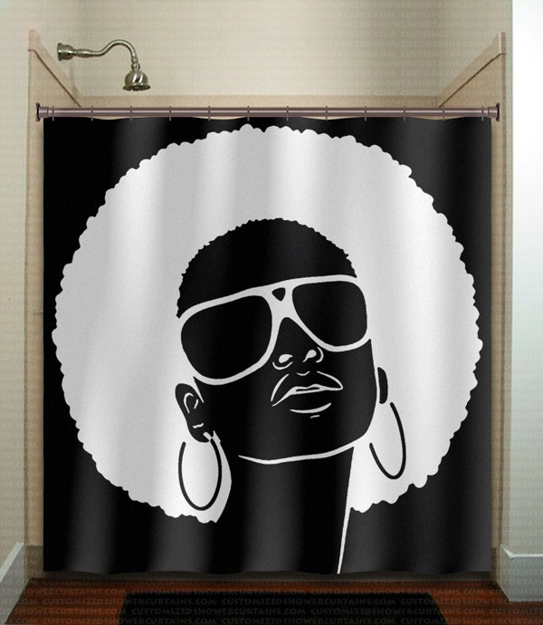 Sexy Retro Afro Girl Shower Curtain Grunge Exotic Punk African