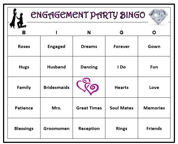Engagement Party Bingo Game 30 Cards Wedding Themed Bingo