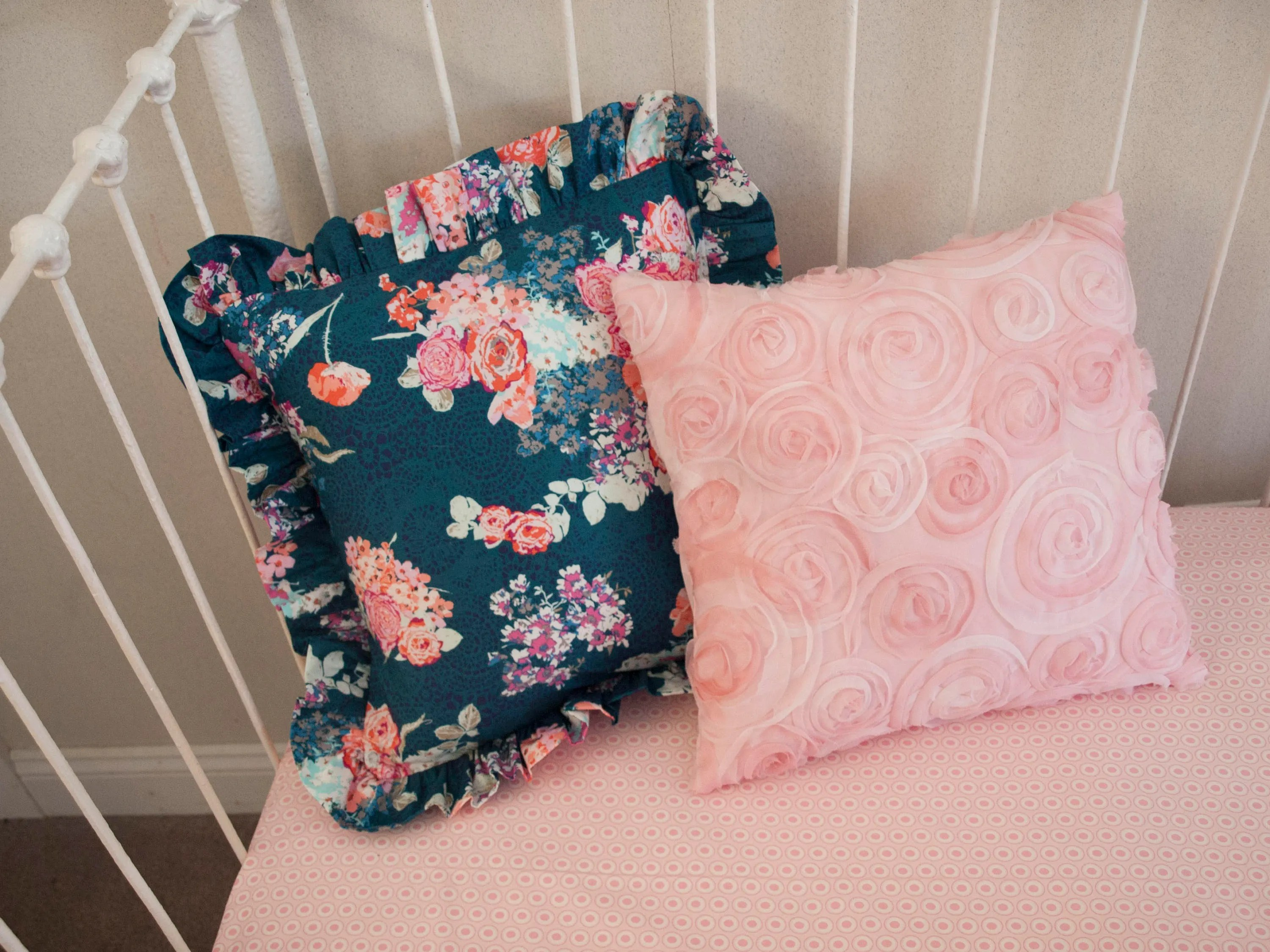 Navy Floral And Pink Rose Decorative Pillows Choose From
