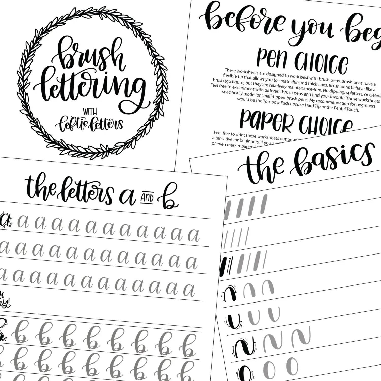 Brush Lettering Worksheets Learn Brush Lettering Lowercase