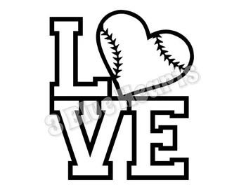 Svg love baseball | Etsy