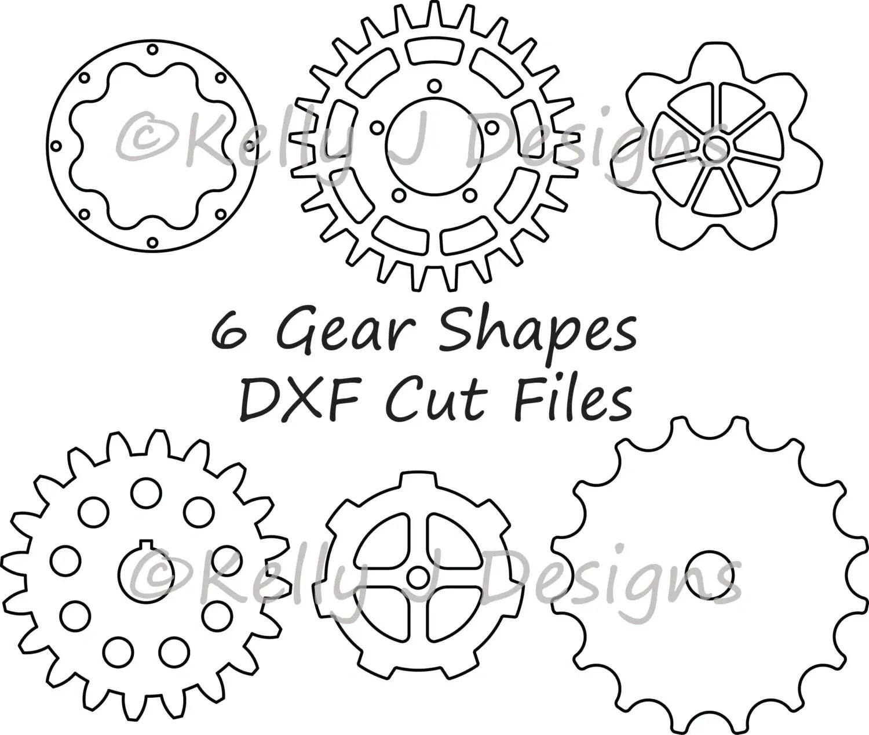 Gear Cut File Gear Dxf Includes 6 Gear Shapes From Kjdpatterns On Etsy Studio