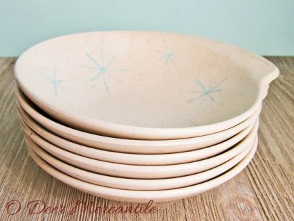 Mid Century Royal China Celeste Pattern Blue Starbursrt Bowls ~ Six Atomic Star Salad/Snack Bowls