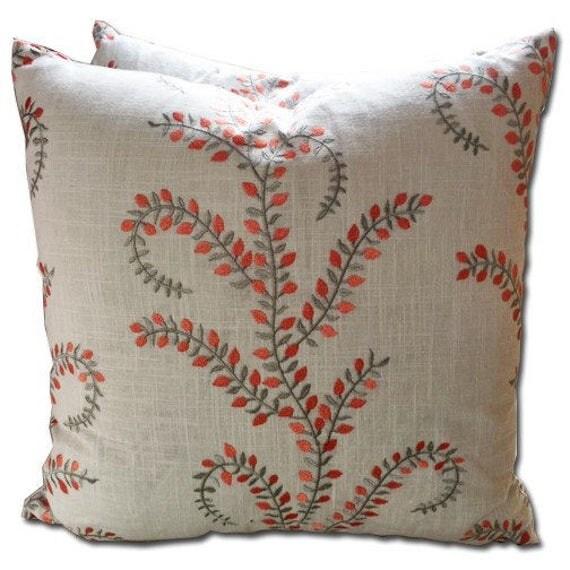 Decorative Pillow Cover – Beige linen  with orange embroidery 20 x 20 - Hidden Zipper Closure Cushion Cover- Toss Pillows - Pillow Case