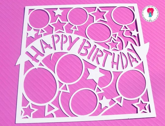 Download Happy Birthday Paper Cut Template SVG / DXF Cutting File For