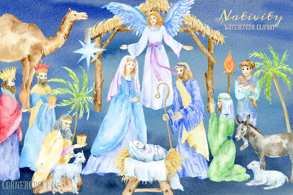 Watercolor Clip Art Nativity Nativity Scene Mary