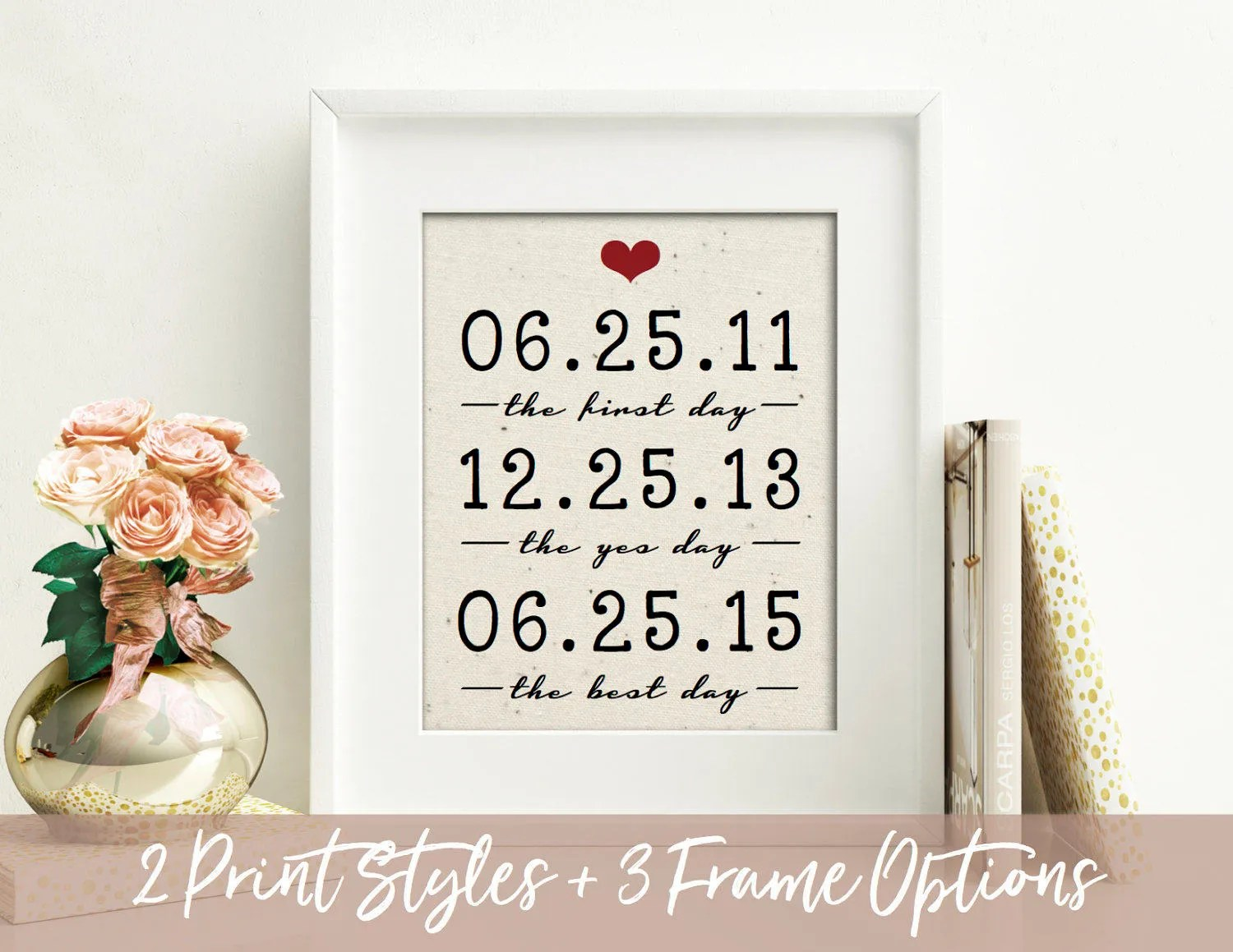2 Year Anniversary Gift Wedding Gift Important Dates 2nd