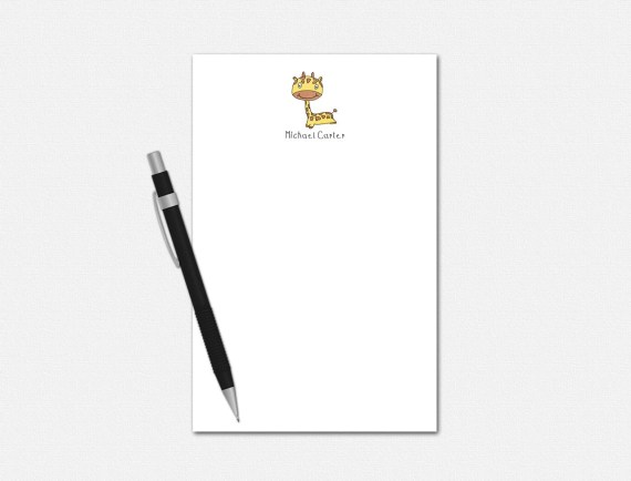 Personalized Giraffe Notepad - Giraffe Notepad - Personalized Notepad for Kids - Personalized Stationery for Kids - Giraffe Stationery