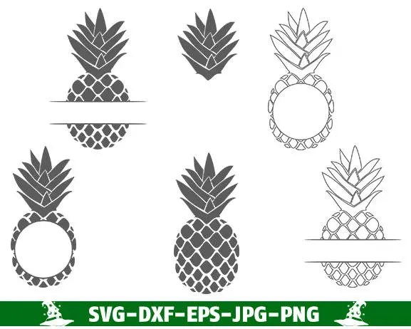Pineapple SVG Cut Files Monogram Frames Summer Monogram