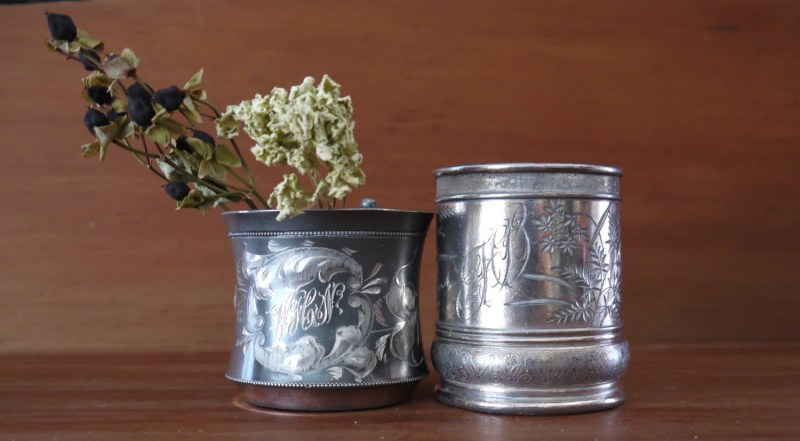 Pair of Silverplate Baby Mugs, Victorian, 1900s, Antique,  Great Gift for Baby Showers, Weddings, Family, Mothers Day