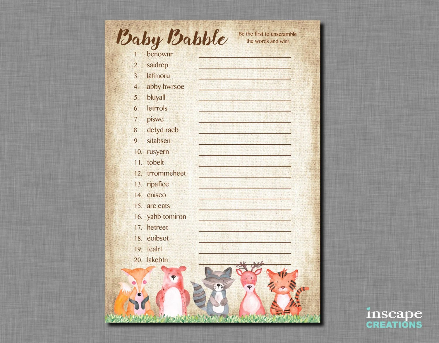 Woodland Animals Baby Shower Word Scramble Game Printable Baby