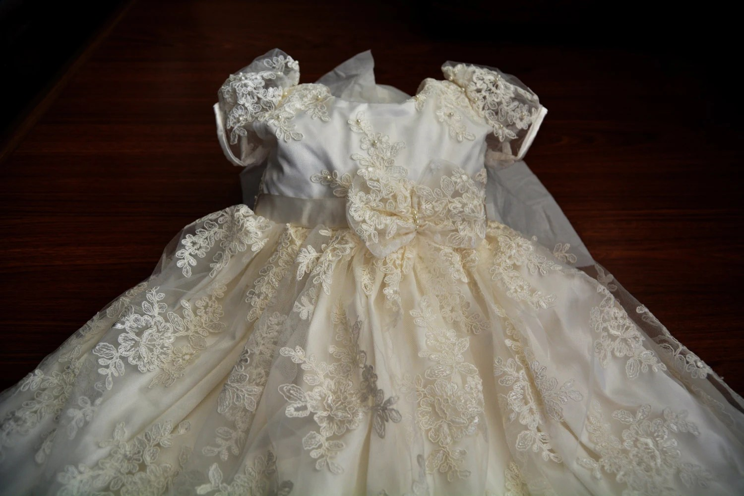 Baptism Gown Beaded Lace Christening Gown Baptism Dress Set