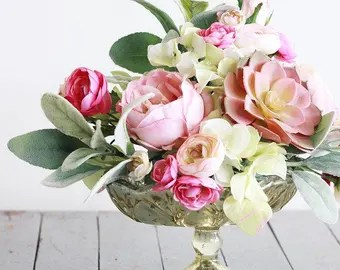 Image result for flower arrangement mercury glass pedestal vase