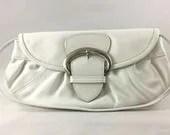 White Leather Purse - Lea...