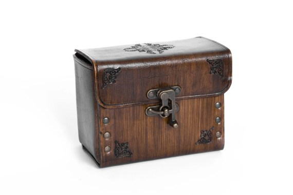 Big Hard leather DECK BOX for 210 card in sleeved, with swing hooks, can be worn on belt,