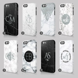 Personalised Silver Marble Printed Glitter Initials Custom Phone Case For Iphone & Samsung 3D Full Wrap Hard Cover Gift
