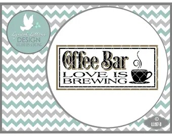 Download Coffee bar love is brewing wooden sign framed out in painted
