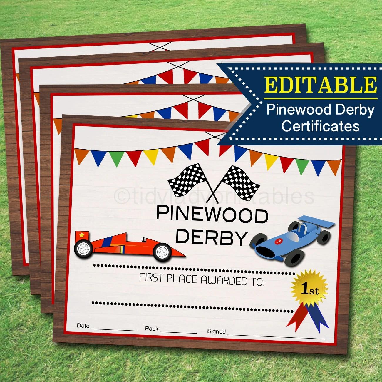 Pinewood Derby Award Certificates Instant Editable Boy