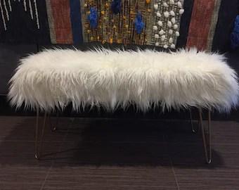 Mongolian Fur Bench Etsy