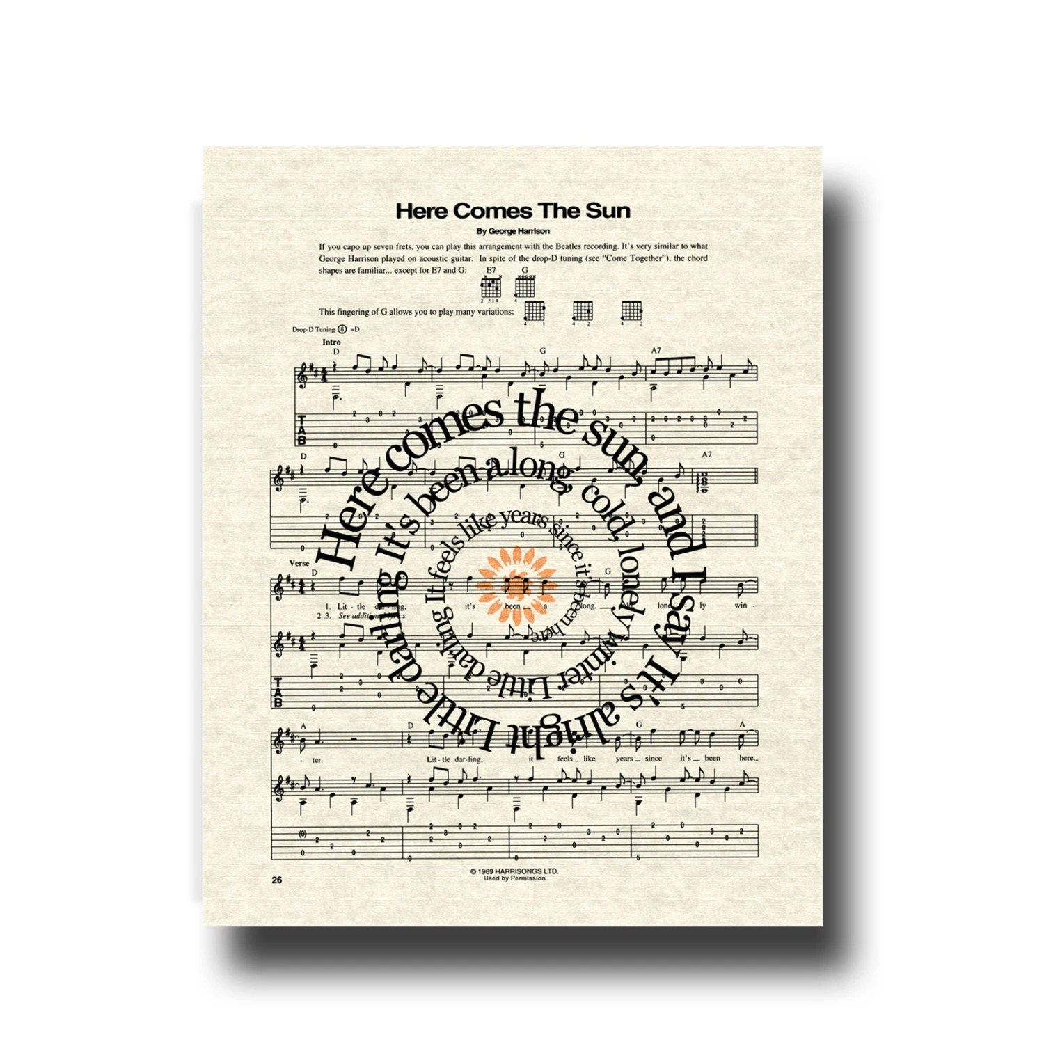 The Beatles Here Comes The Sun Song Lyric Sheet Music Art