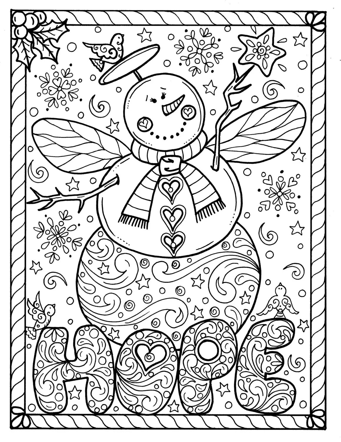 Snow Angel Instant download Christmas Coloring page Holidays | christmas colouring pages for adults