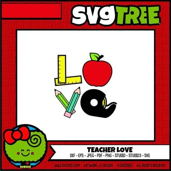 Download Teacher SVG Teacher Love SVG Apple svg Back to School SVG
