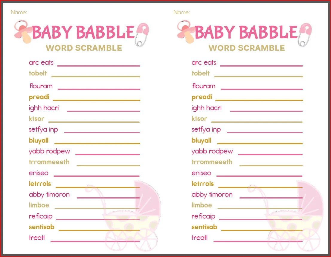 Baby Shower Game Baby Babble Pink White Gold