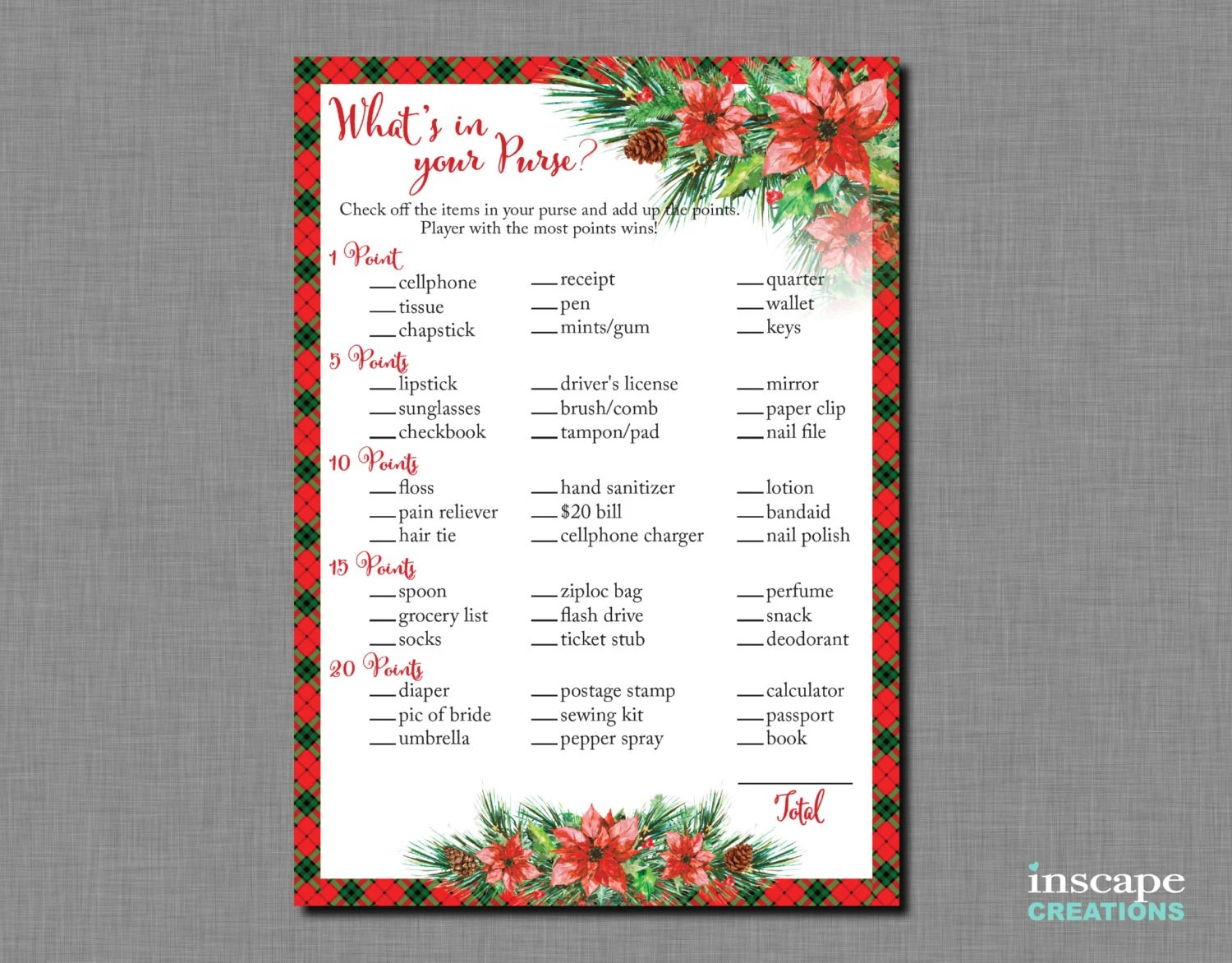Christmas Whats In Your Purse Game Printable Floral Shabby