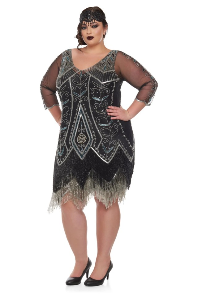 Plus Size Scarlet Black silver Flapper Dress with sleeves Slip
