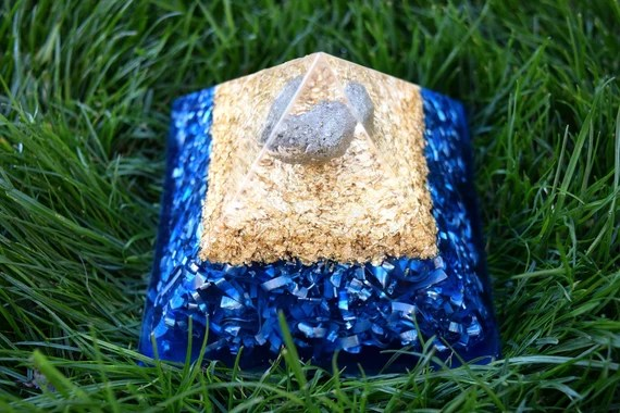 15% Off Today Only! Large Blue and 'Gold' Orgone Pyramid