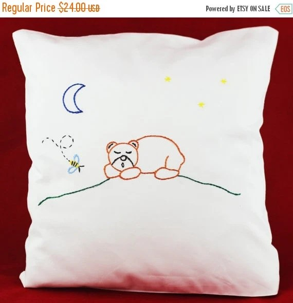 30% BLACK FRIDAY SALE Forest Lullaby pillow cover with handmade embroidery sleeping forest animal Hand Embroidered kids bedding pillowcase w
