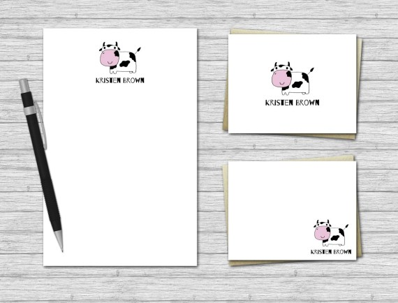 Cow Personalized Stationery Set