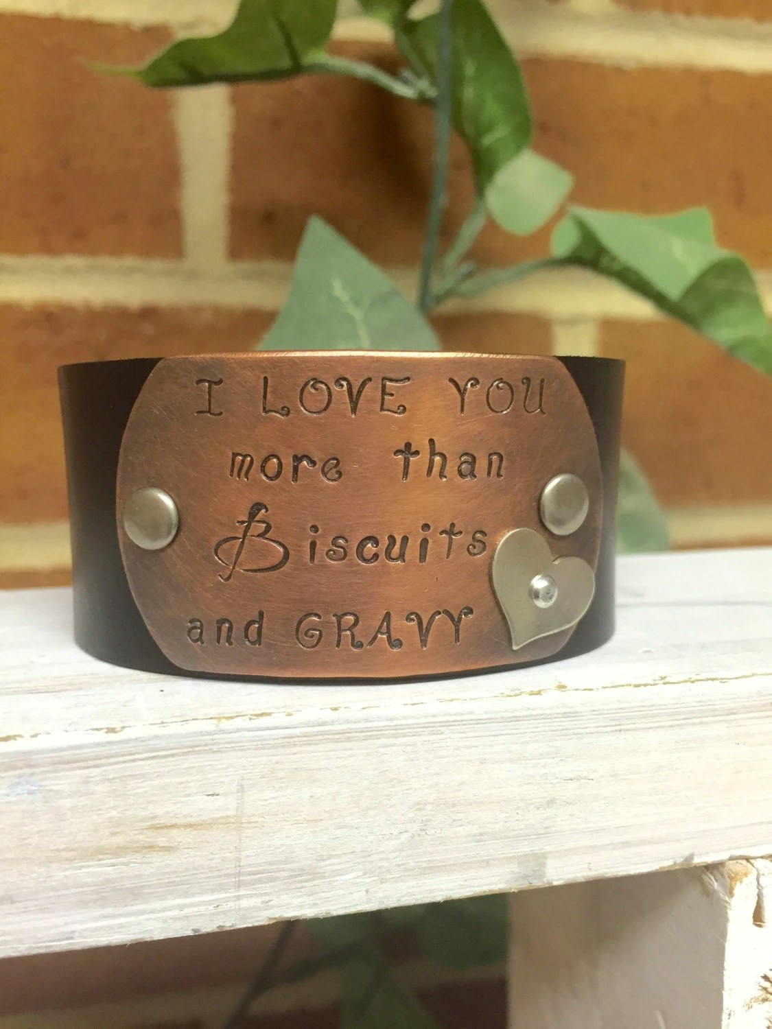 Download I Love You More Than Biscuits and Gravy Leather Cuff