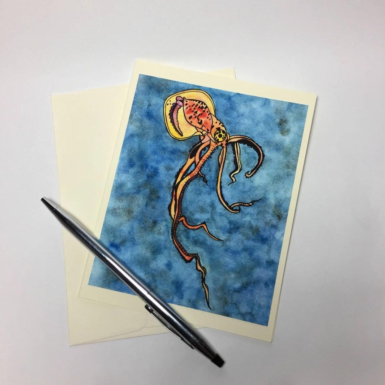 Squid Sealife Note Card -...