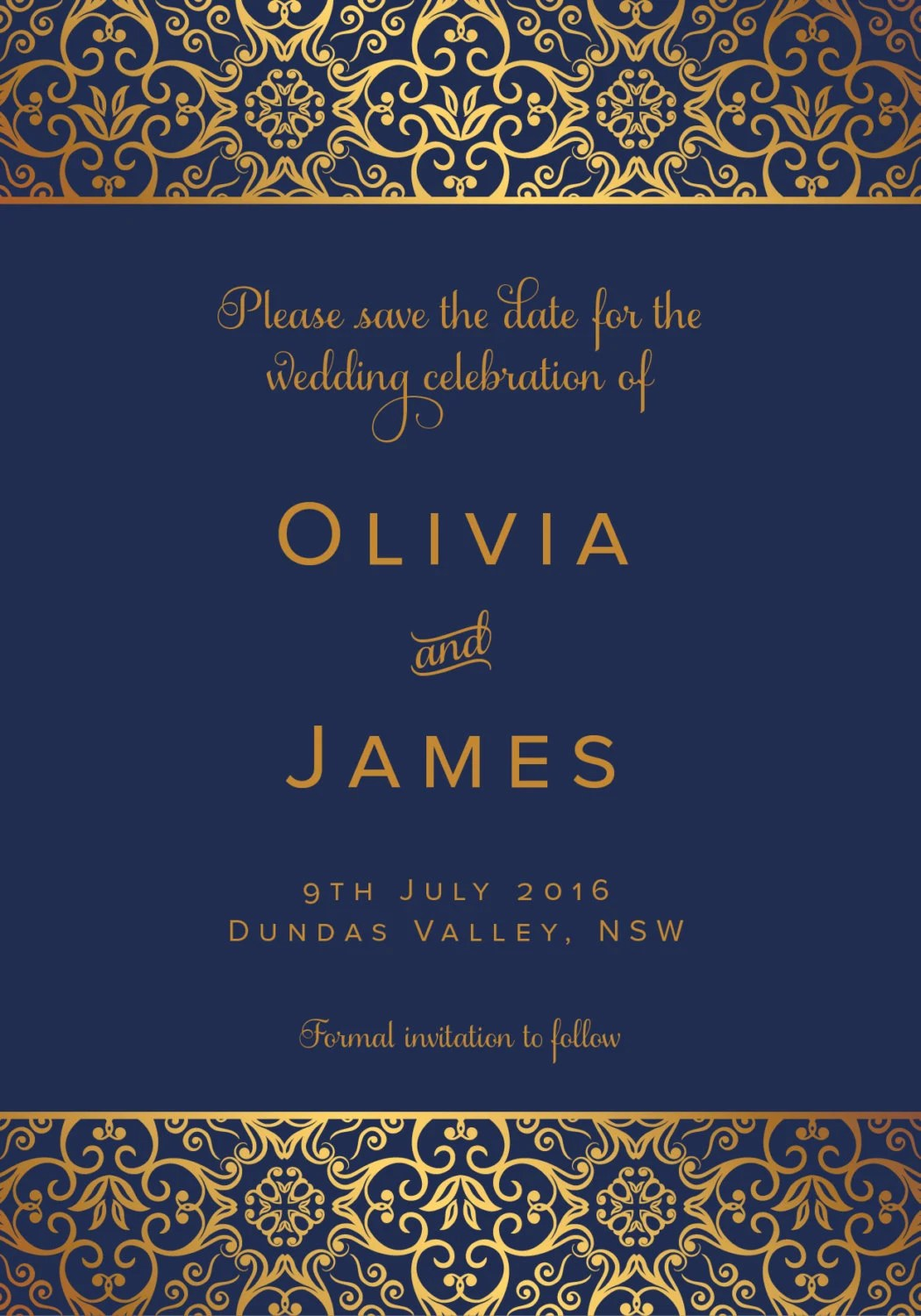 Navy Blue Amp Gold Save The Date Wedding Card By Rachaelree On Etsy