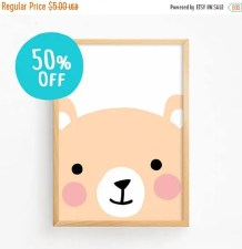 50% OFF Sale Cute Bear Face Poster Printable Art Baby Boys Girls Animal Illustration Kawaii Kids Room Art Print Nursery Art Instant Download