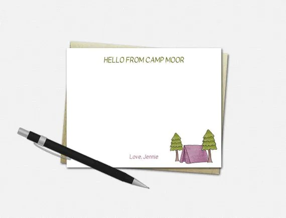 Personalized Camp Note Cards for Girls {FLAT}