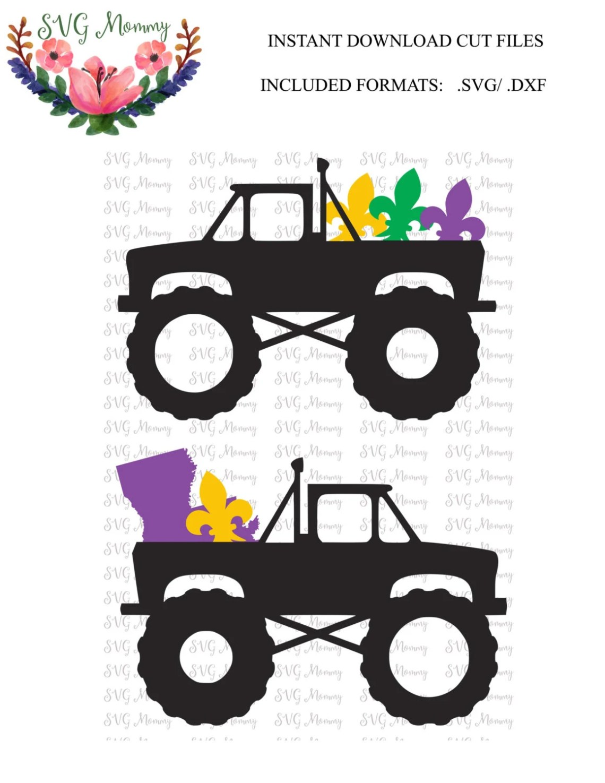 Download Mardi Gras Monster Truck SVG cut file DXF cut file Cricut