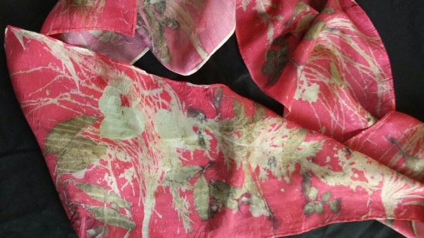 "Red Silk Scarf, organic ecoprinted leaf designs & colors imprinted from Nature, cochineal bugs,  8"" x 72"", sustainable silk art by artist"