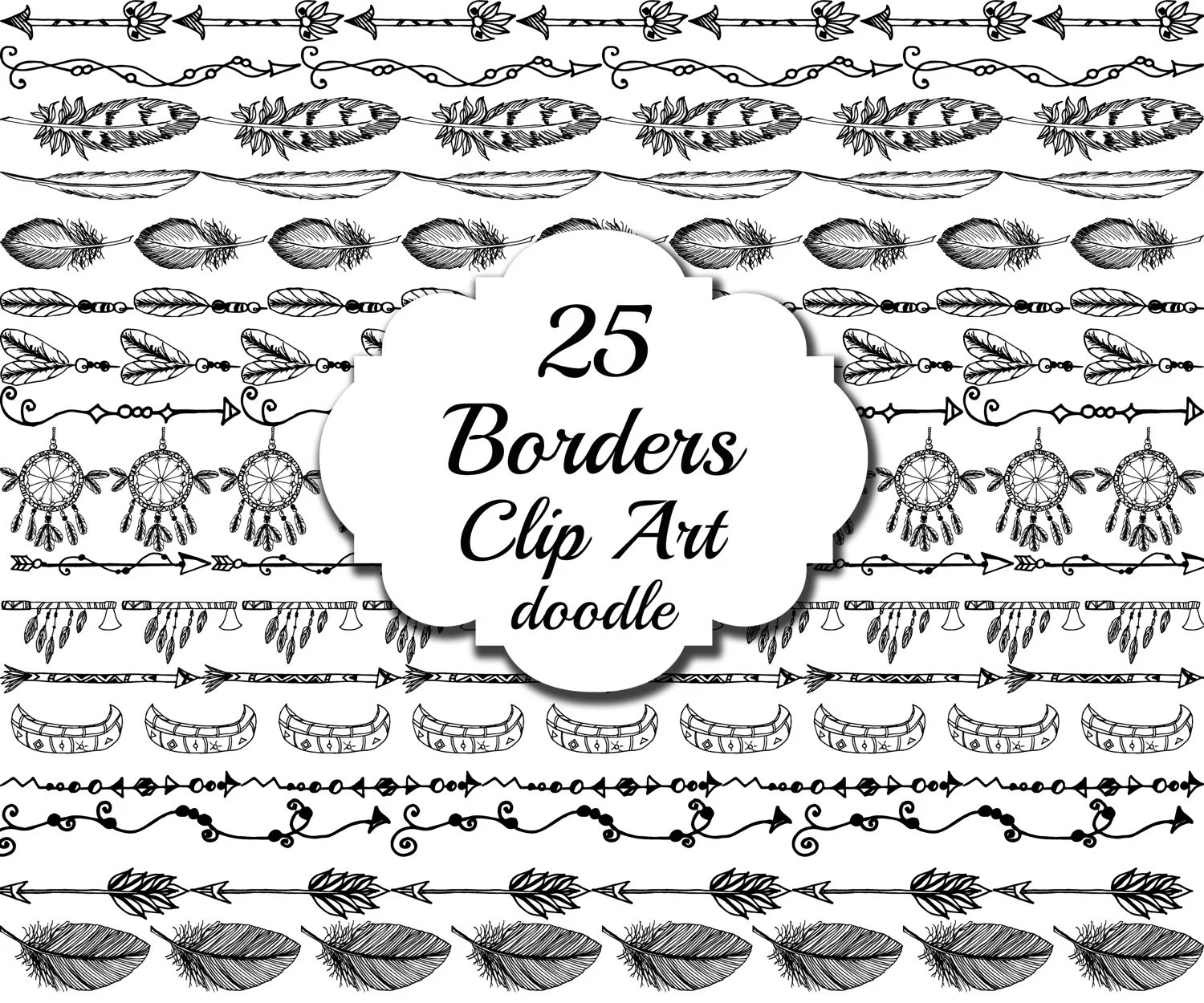 Tribal Border Clipart Doodle Borders Tribal