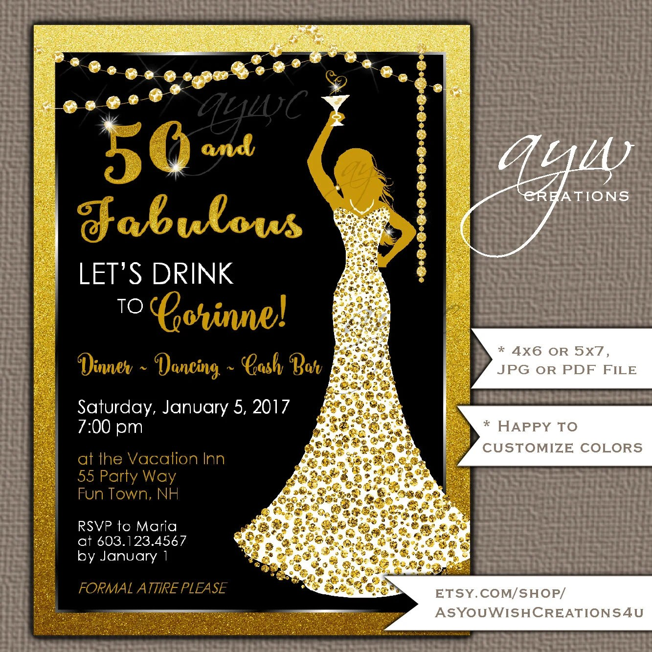 50th Birthday Party Invitations Woman Bling Dress 40th