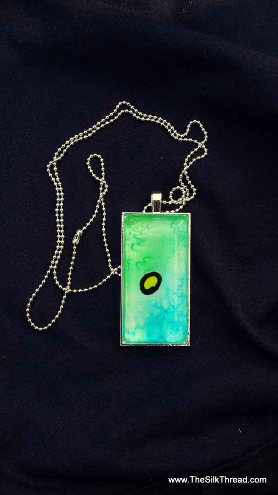 "Yellow Spot Necklace, silk jewelry, Hand painted silk pendant, 1"" x 2"", Handmade silk art by artist, green background, organza gift bag,"
