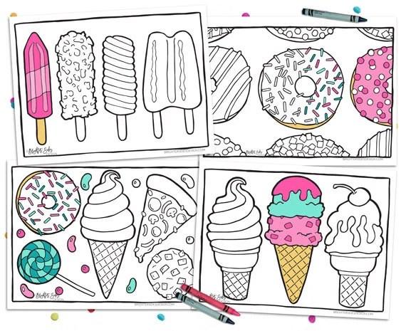 4 printable food coloring pages kawaii adult coloring