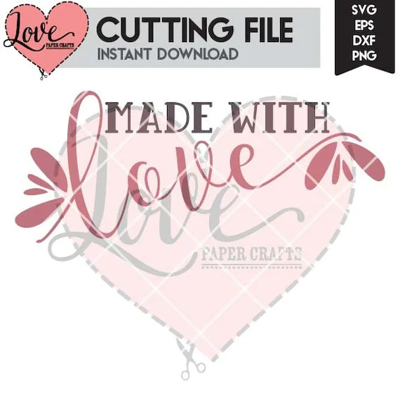Download Made with Love Valentine's Day SVG Cut File EPS DXF jpg