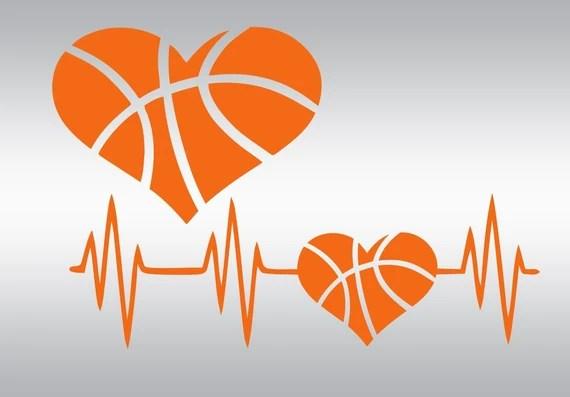 Download Heart basketball heartbeat SVG Clipart Cut Files Silhouette